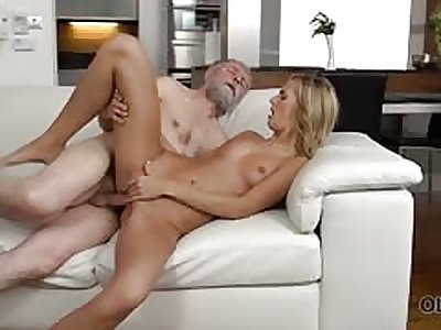 Perfect blonde girl with her pussy fucked by elderly man
