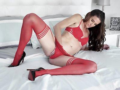 Sofie Marie masturbates alone using her hand and a big dildo