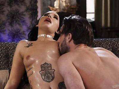 Inked goth slut Stella Raee rough pussy fucked from behind