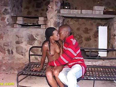 Skinny hairy african teen gets extreme deep banged by her big cock boyfriend