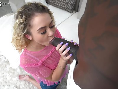 Dominate solid blowjob is provided to casual black scantling by Allie Addison