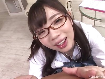 Japanese schoogirl kneels for step cur� before going to school
