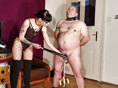 Goth domina tortured CBT & bellypunch her fat slave pt1 HD