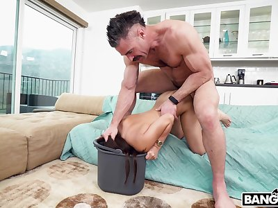 Sweet maid gets will not hear of tight snatch pounded by will not hear of employer's rock hard cock